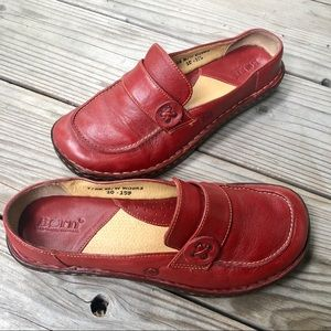 Born Red Leather Slip On Mules -- Size 7